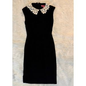 Betsy Johnson Black Dress with Floral Lace Neck 🖤